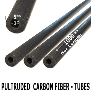 Pultruded Carbon Fiber Tubing  - 5mm x 3mm x 1000mm - High Strength