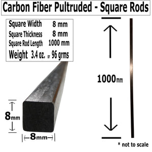 Pultruded Carbon Fiber Square Rods - 8mm x 8mm x 1000mm - High Strength Solid Rods