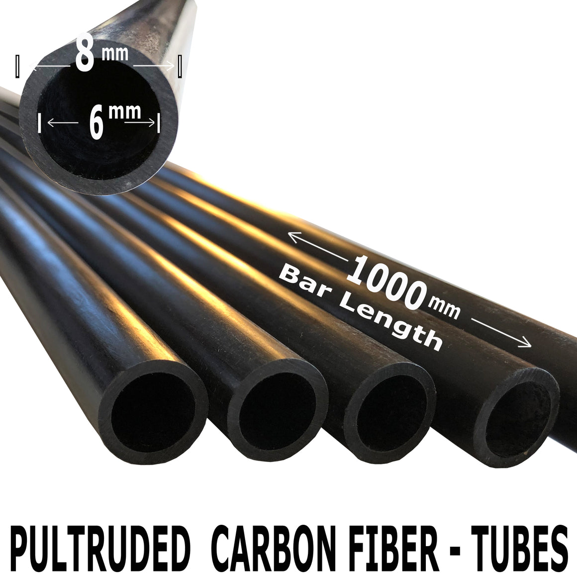 Pultruded Carbon Fiber Tubing  - 8mm x 6mm x 1000mm - High Strength