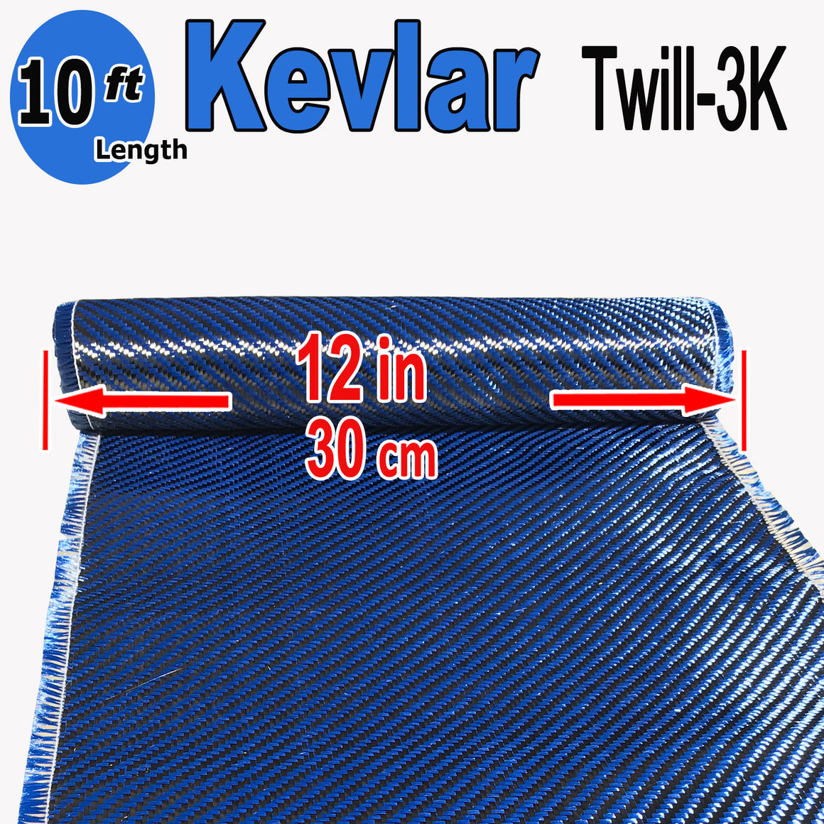 KEVLAR ARAMID  Fabric - 12 in x 10 ft - Twill  - 240g/m2 - 3K TOW (Blue)