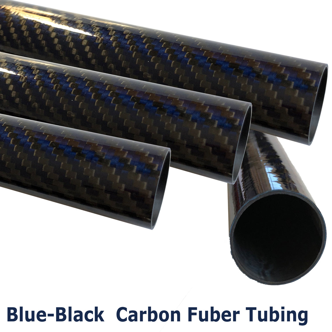 Blue-Black Carbon Kevlar Fiber Tubing  - 14mm x 12mm x 500mm - 3K Roll Wrap - Gloss Finish
