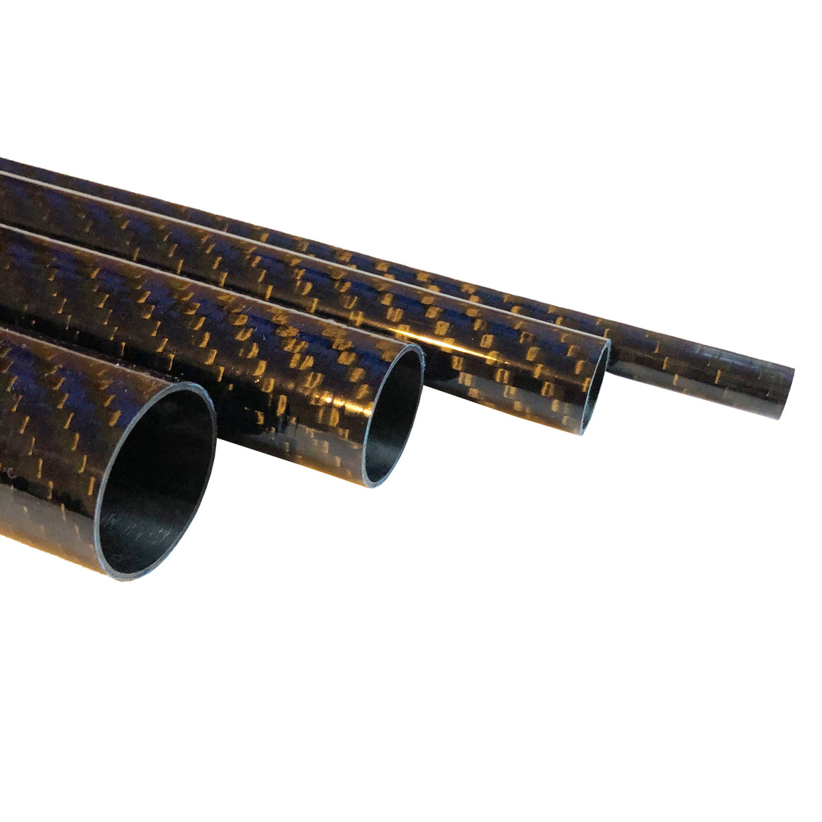 Blue-Black Carbon Fiber Tubing  - 20mm x 18mm x 1000mm - 3K Roll Wrapped - Glossy