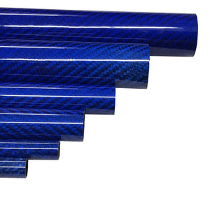 Carbon-Kevlar Fiber Tubing  - 10mm x 8mm x 500mm - 3K Roll Wrap-High Gloss-Blue