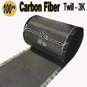CARBON FIBER Fabric - 12 in x 100 ft - Twill  - 220g/m2 - 3K TOW