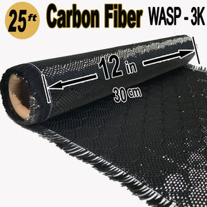WASP Weave - CARBON FIBER Fabric - 12 in x 25 ft - 220g/m2 - 3K TOW