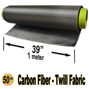 CARBON FIBER Fabric - 1 meter x 50 ft - 2x2 Twill weave - 220g/m2 - 3K TOW