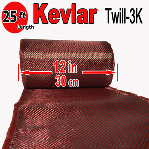 KEVLAR ARAMID  Fabric - 12 in x 25 ft - Twill  - 240g/m2 - 3K TOW