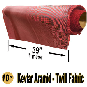 KEVLAR ARAMID  Fabric - 1 meter x 10 ft - Twill  - 240g/m2 - 3K TOW