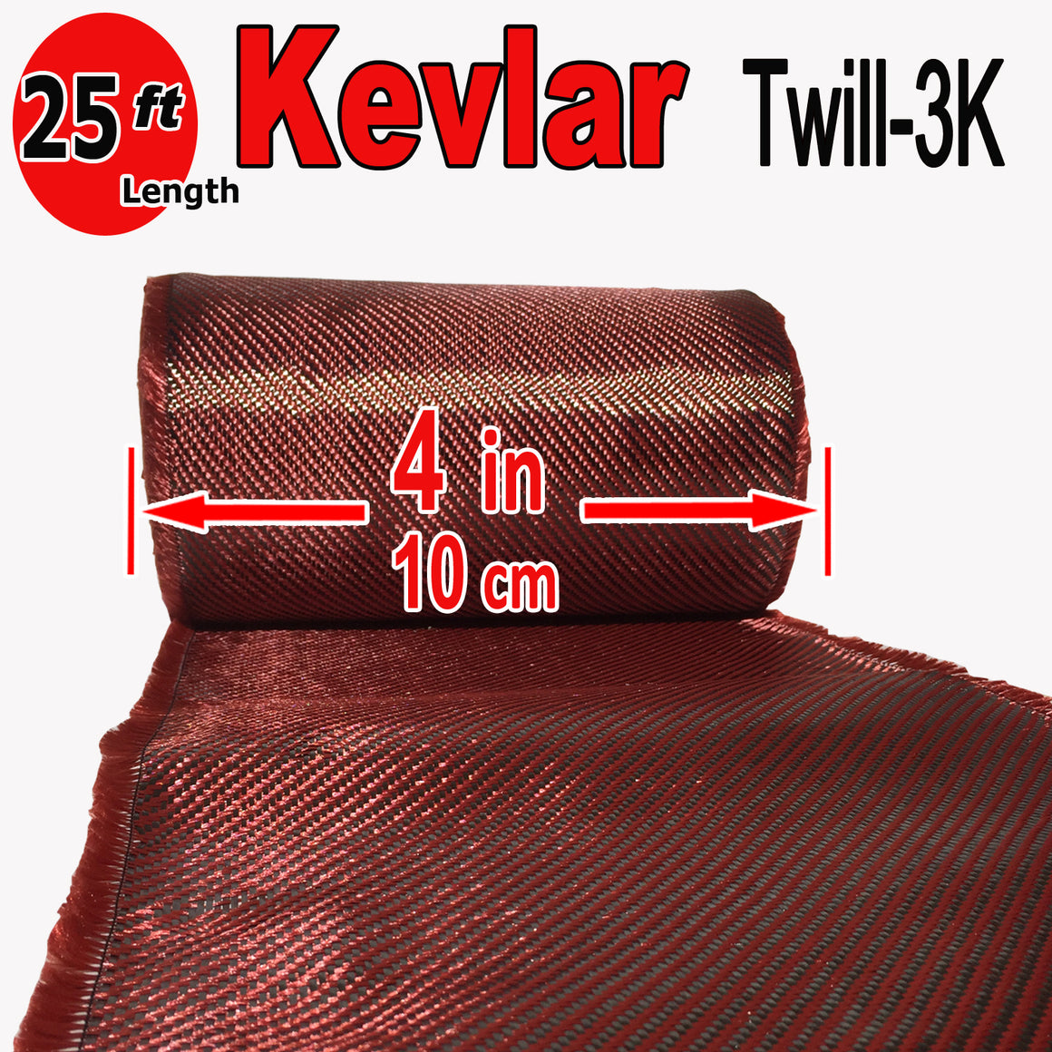 KEVLAR ARAMID  Fabric - 4 in x 25 ft - Twill  - 240g/m2 - 3K TOW