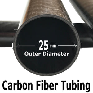 Carbon Fiber Tubing  - 25mm x 23mm x 500mm - 3K Roll Wrapped 100% Carbon Fiber Tube Gloss