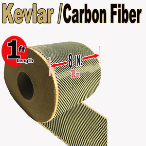 KEVLAR ARAMID  Fabric - 8 in x 1 ft - Ylw/Blk Twill - 240g/m2 - 3K TOW