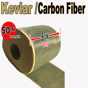KEVLAR ARAMID  Fabric - 8 in x 50 ft - Ylw/Blk Twill - 240g/m2 - 3K TOW