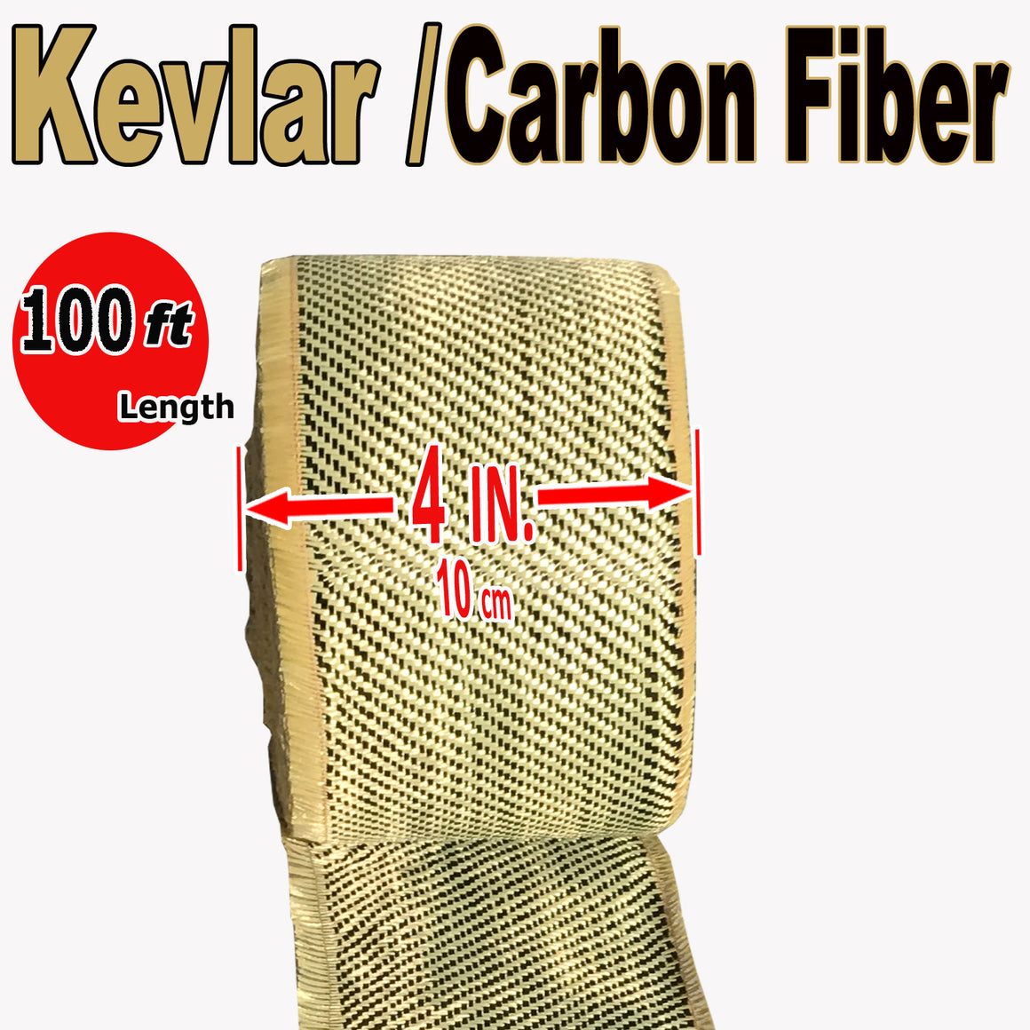 KEVLAR ARAMID  Fabric - 4 in x 100 ft - Ylw/Blk Twill  - 240g/m2 - 3K TOW
