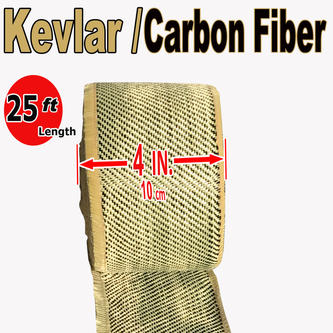 KEVLAR ARAMID  Fabric - 4 in x 25 ft - Ylw/Blk Twill  - 240g/m2 - 3K TOW