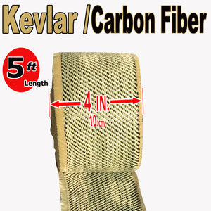 KEVLAR ARAMID  Fabric - 4 in x 5 ft - Ylw/Blk Twill  - 240g/m2 - 3K TOW