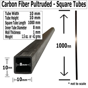 (4) Pultruded Square Carbon Fiber Tube - 6mm x 6mm x 1000mm