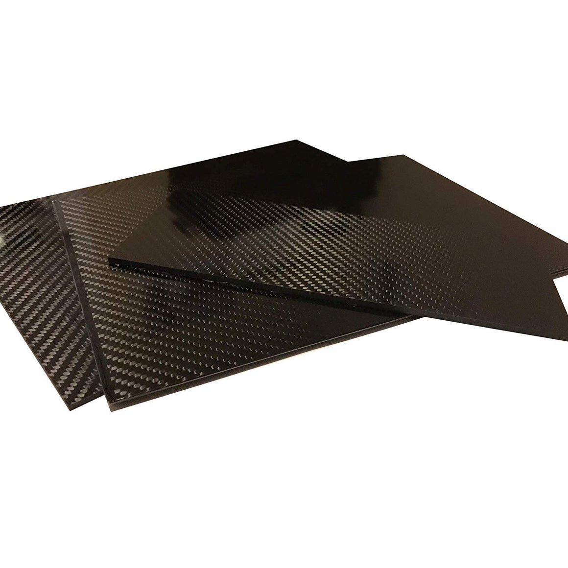(2) Carbon Fiber Plate - 100mm x 250mm x 1mm Thick - 100% -3K Tow, Plain Weave -High Gloss Surface (1) Plate