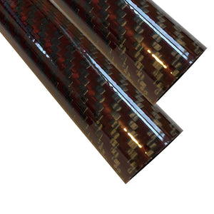 (2) Red-Black Carbon Fiber Tube - 14mm x 12mm x 500mm - 3K Roll Wrapped 100% Carbon Fiber Tube Glossy Surface (2) Tubes