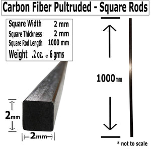 (4) 2mm X 1000mm - PULTRUDED-Square Carbon Fiber Rod. 100% Pultruded high Strength Carbon Fiber. Used for Drones, Radio Controlled Vehicles. Projects requiring high Strength to Weight Components.