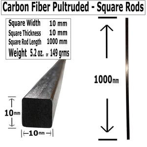 (2) 10mm X 1000mm - PULTRUDED-Square Carbon Fiber Rod. 100% Pultruded high Strength Carbon Fiber. Used for Drones, Radio Controlled Vehicles. Projects requiring high Strength to Weight Components.