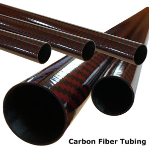 Red Carbon Fiber Tubing - 20mm x 18mm x 500mm - 3K- Plain Weave-High Gloss
