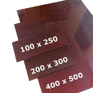 (4) Red Carbon Fiber Plate - 400mm x 500mm x 2mm Thick - 100% -3K Tow, Plain Weave -High Gloss Surface