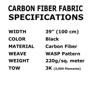 39 in x 5 FT - WASP - Carbon Fiber Fabric - Wasp Weave-3K - 220g-Black