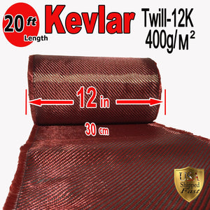 "12"" x 20 FT Red - KEVLAR FABRIC-2x2 TWILL WEAVE-3K/220g"