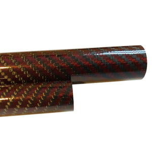 Red Carbon Fiber Tubing- 14mm x 12mm x 500mm - 3K- Plain Weave-High Gloss