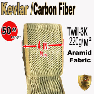 Kevlar Fabric - (YLW-Blk 50 ft x 4 in) 2x2 Twill WEAVE-3K/200g (YLW-Blk 50 ft x 4 in)