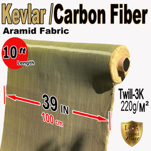 Kevlar Fabric -Yel-10' ft x 1 mtr - 2x2 Twill WEAVE-3K/200g