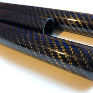 (1) Blue-Black Carbon Fiber Tube - 20mm x 18mm x 500mm - 3K Roll Wrapped 100% Carbon Fiber Tube Glossy Surface (1) Tube)