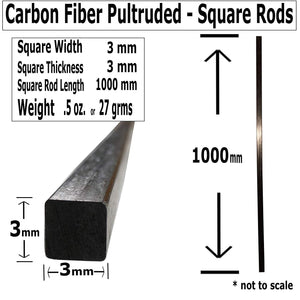 (2) 3mm X 1000mm - PULTRUDED-Square Carbon Fiber Rod. 100% Pultruded high Strength Carbon Fiber. Used for Drones, Radio Controlled Vehicles. Projects requiring high Strength to Weight Components.