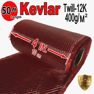 "4"" x 50 FT Red - KEVLAR FABRIC-2x2 TWILL WEAVE-3K/220g"