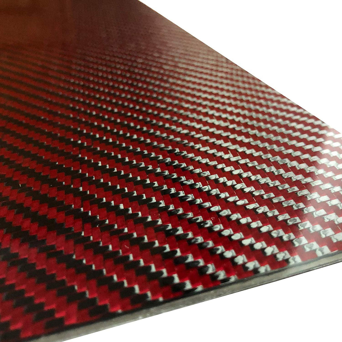 (2) Red Carbon Fiber Plate - 400mm x 500mm x 2mm Thick - 100% -3K Tow, Plain Weave -High Gloss Surface (1) Plate