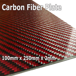 (1) Red Carbon Fiber Plate - 100mm x 250mm x 2mm Thick - 100% -3K Tow, Plain Weave -High Gloss Surface (1) Plate