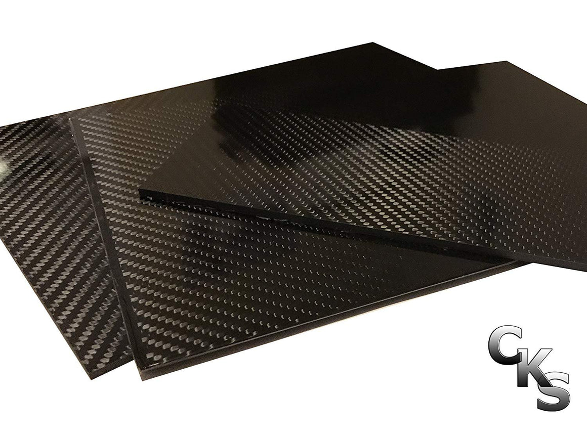 (1) Carbon Fiber Plate - 200mm x 300mm x 3mm Thick - 100% -3K Tow, Plain Weave -High Gloss Surface (1) Plate