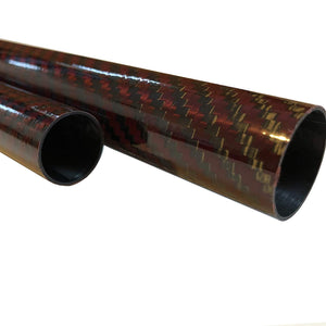 (2) Red-Black Carbon Fiber Tube - 20mm x 18mm x 500mm - 3K Roll Wrapped 100% Carbon Fiber Tube Glossy Surface (2) Tubes