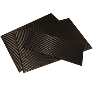 (1) Carbon Fiber Plate - 100mm x 250mm x 1mm Thick - 100% -3K Tow, Plain Weave -High Gloss Surface (1) Plate
