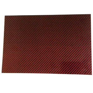 (1) Red Carbon Fiber Plate - 400mm x 500mm x 2mm Thick - 100% -3K Tow, Plain Weave -High Gloss Surface (1) Plate