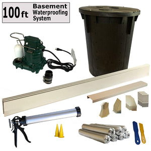 100 Ft - Complete Basement Waterproofing System. Includes, baseboard channel gutter panels, sump pump & basin, floor adhesive, caulk gun and all accessories. DIY System