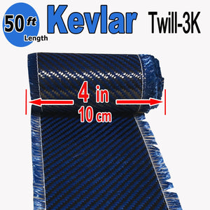 "4"" x 50 FT - KEVLAR FABRIC-2x2 TWILL WEAVE-3K/240g (Blue)"