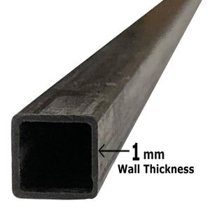 (1) Pultruded Square Carbon Fiber Tube - 6mm x 6mm x 1000mm