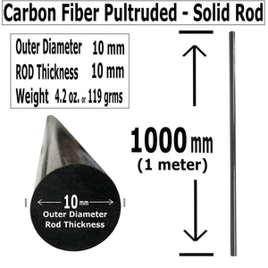 (10) 10mm x 1000mm Carbon Fiber RODS - Solid Pultruded Round Rods. Super High Strength for RC Hobbies, Drones, Special Projects - (10) Rods