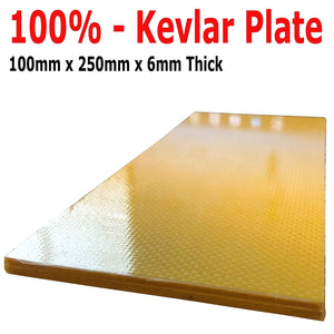 (2) Kevlar Plates - 100mm x 250mm x 6mm Thick - 100% Kevlar Plain Weave -High Gloss Surface (1) Plate