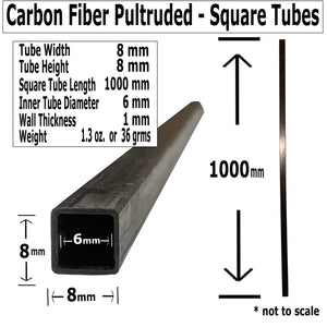 (4) Pultruded Square Carbon Fiber Tube - 8mm x 8mm x 1000mm