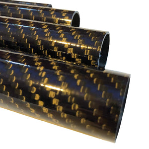 (2) Blue-Black Carbon Fiber Tube - 20mm x 18mm x 500mm - 3K Roll Wrapped 100% Carbon Fiber Tube Glossy Surface (2) Tubes