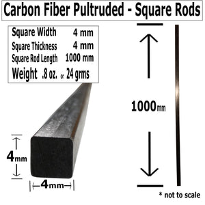(2) 4mm X 1000mm - PULTRUDED-Square Carbon Fiber Rods. 100% Pultruded high Strength Carbon Fiber. Used for Drones, Radio Controlled Vehicles. Projects requiring high Strength to Weight Components.