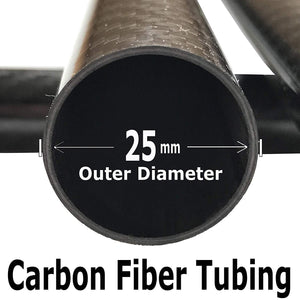 (2) Carbon Fiber Tube - 25mm x 23mm x 1000mm - 3K Roll Wrapped 100% Carbon Fiber Tube Glossy Surface