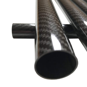 (2) Carbon Fiber Tubes - 25mm x 23mm x 1000mm - 3K Roll Wrapped 100% Carbon Fiber Tube Glossy Surface -(2) Tubes